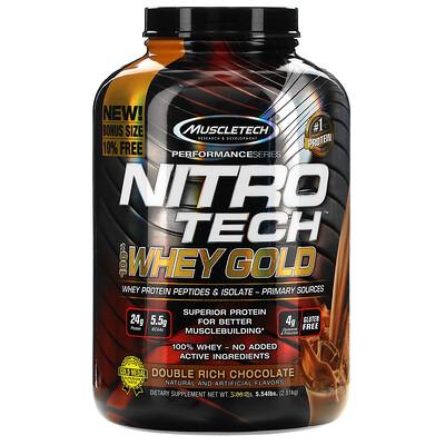 Купить Muscletech Nitro Tech, 100% Whey Gold, сывороточный протеин в порошке, двойной шоколад, 2, 51кг (5, 54фунта)