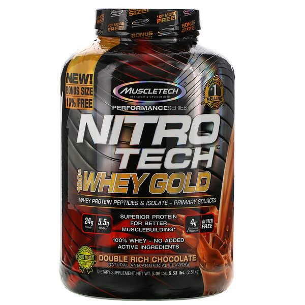 Nitro Tech، 100% مصل اللبن من الفئة الذهبية، مسحوق بروتين مصل الحليب، بمذاق الشوكولاتة المضاعف، 5.53 رطل (2.51 كجم)