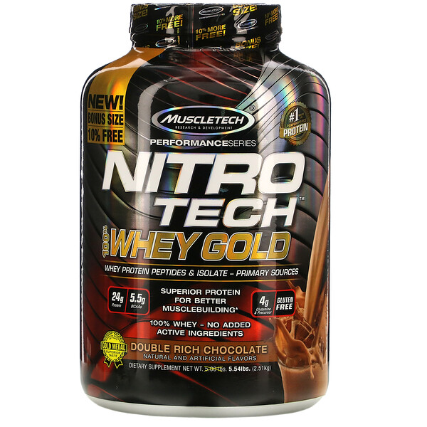 Muscletech, Nitro Tech, 100% Whey Gold, Whey Protein Powder, Double Rich Chocolate, 5.54 lbs (2.51 kg)