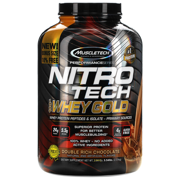 Nitro Tech, 100% Whey Gold, Double Rich Chocolate, 5.54 lbs (2.51 kg)