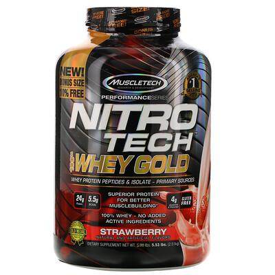 Фото - Nitro Tech, 100% Whey Gold, со вкусом клубники, 2,51кг (5,53фунта) gold standard 100 % whey со вкусом соленой карамели 819 г 1 81 фунта