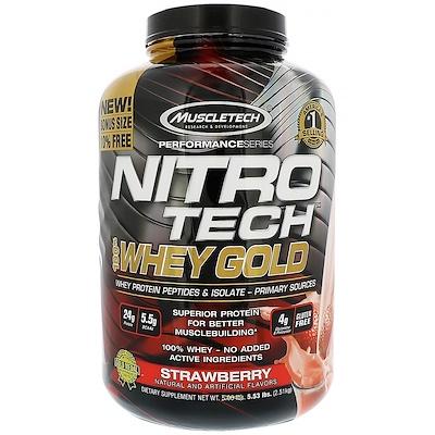 Nitro Tech, 100% Whey Gold, со вкусом клубники, 2,51 кг (5,53 фунта)