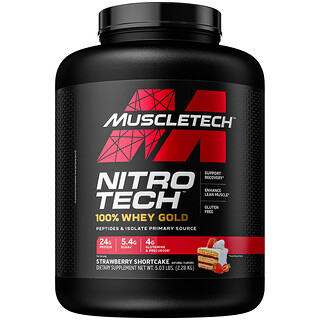 Muscletech, Nitro Tech 100% Whey Gold, Strawberry, 5.53 lbs (2.51 kg)