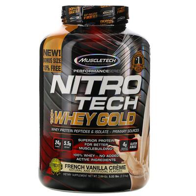 Фото - Nitro Tech, 100% Whey Gold (100% сыворотка), французский ванильный крем, 2,51кг (5,53фунта) gold standard 100 % whey со вкусом соленой карамели 819 г 1 81 фунта