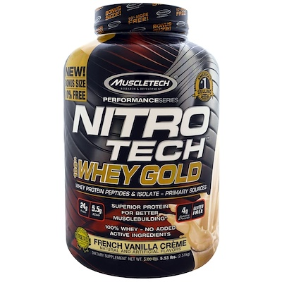 Nitro Tech, 100% Whey Gold (100% сыворотка), французский ванильный крем, 2,51 кг (5,53 фунта)