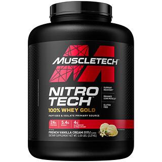 Muscletech, Nitro Tech 100% Whey Gold، كريمة فانيليا فرنسية، 5.53 رطل (2.51 كجم)