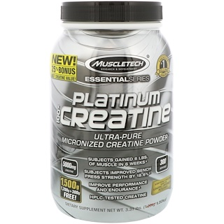 Muscletech, Essential Series, Platinum 100% Micronized Creatine, Unflavored, 3.31 lbs (1.50 kg)