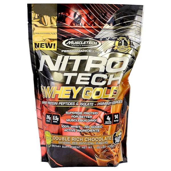 Muscletech, Nitro Tech 100% Whey Gold, Double Rich Chocolate, 1.00 lbs (454 g) (Discontinued Item)