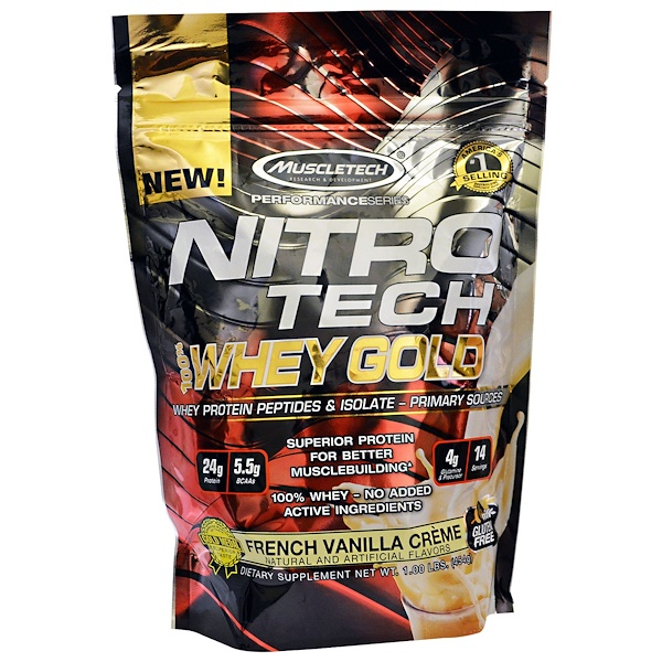 Muscletech, Nitro Tech Whey Gold, French Vanilla Creme, 1.00 lbs (454 g) (Discontinued Item)