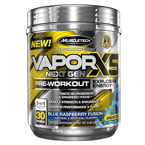 Muscletech, VaporX5, Next Gen, Pre-Workout, Blue Raspberry Fusion, 9.40 oz (266 g)