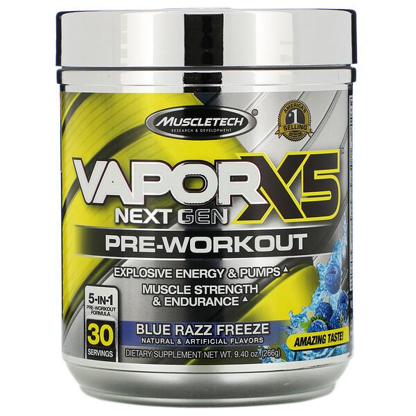 Muscletech, VaporX5، الجيل التالي،، لما قبل التمارين، عصير راز الأزرق المنعش، 9.40 أونصة (266 جم)