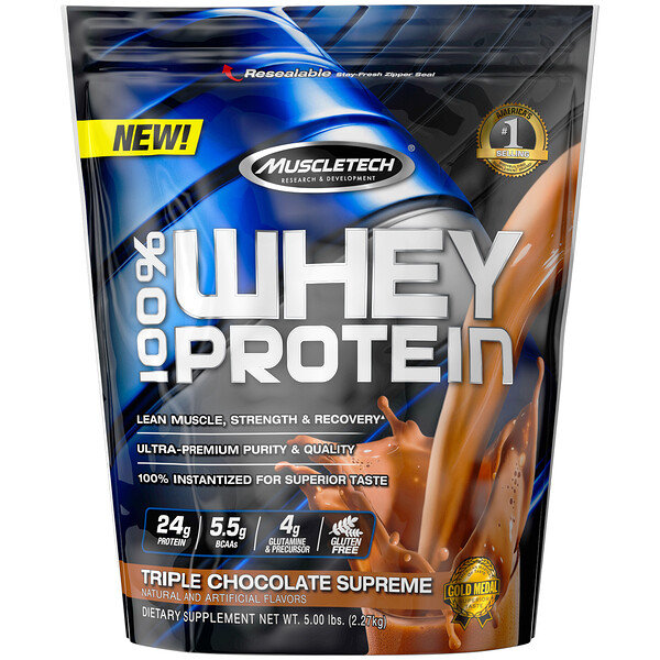 Muscletech, 100% Whey Protein, Triple Chocolate Supreme, 5.00 lbs (2.27 kg)