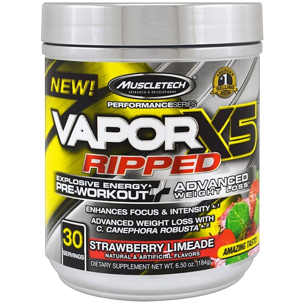 Muscletech, Performance Series, VaporX5 Ripped, frutilla y lima, 6,50 oz (184 g)