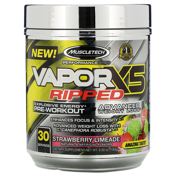 Muscletech, Performance Series، VaporX5 Ripped، مشروب فراولة، 6.50 أونصة (184 جم)