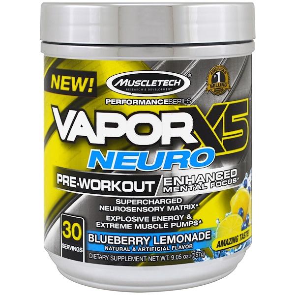 Muscletech, Performance Series, VaporX5 Neuro, Blueberry Lemonade, 9.05 oz (257 g) (Discontinued Item)
