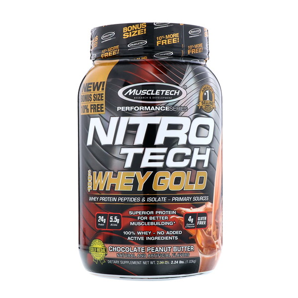 Muscletech, Nitro Tech, 100% Whey Gold, Chocolate Peanut Butter, 2.24 lbs (1.02 kg) (Discontinued Item)