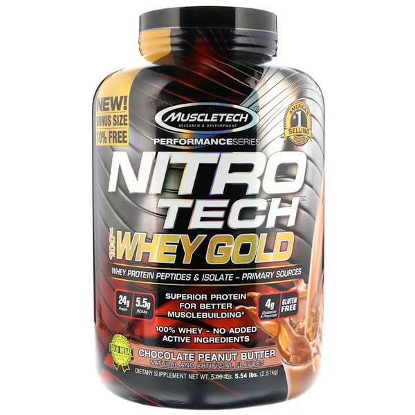 Muscletech, Nitro Tech 100% Whey Gold, Chocolate Peanut Butter, 5.54 lbs (2.51 kg)