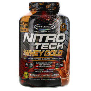 Мусклетек, Nitro Tech 100% Whey Gold, Chocolate Peanut Butter, 5.54 lbs (2.51 kg) отзывы