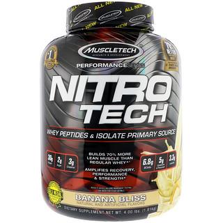 Muscletech, ニトロテック、ホエイペプチド&アイソレートの基本サプリ、バナナブリス、1.81kg(4 lb)