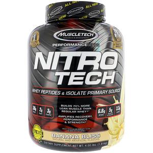 Мусклетек, Nitro Tech Whey Peptides & Isolate Primary Source, Banana Bliss, 4 lb (1.81 kg) отзывы