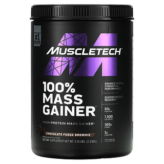 Muscletech, 100% Mass Gainer, Chocolate Fudge Brownie, 5.15 lbs (2.33 kg)