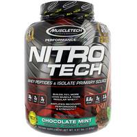 Nitro Tech, основной источник сывороточного изолята и пептидов, шоколад-мята, 4 фунта (1,82 кг) - фото