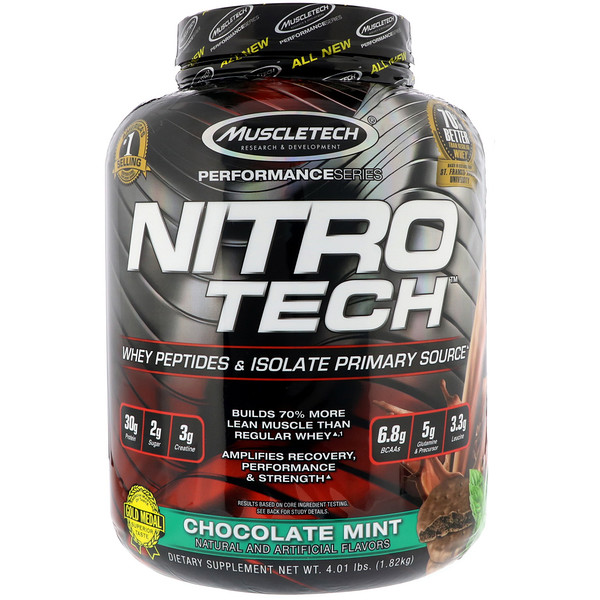 Muscletech, Nitro Tech Whey Peptides & Isolate Primary Source, Chocolate Mint, 4 lb (1.82 kg)