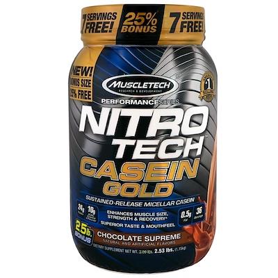 Nitro Tech Casein Gold, казеиновый протеин, со вкусом шоколада, 1,15 кг (2,53 фунта)