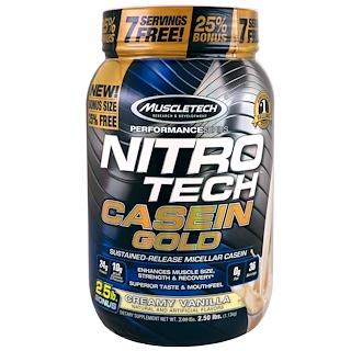 Muscletech, Performance Series, Nitro Tech Casein Gold, Creamy Vanilla, 2.5 lbs (1.13 kg)