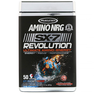 Muscletech, Amino NRG SX-7 Revolution Ultimate Amino Plus Energy, Icy Rocket Freeze, 1.07 lbs (487 g)