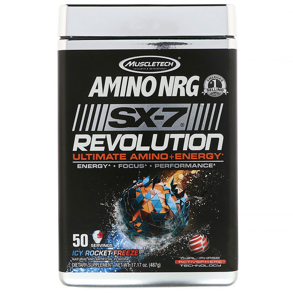 Muscletech, Amino NRG SX-7 Revolution, Ultimate Amino Plus Energy, Icy Rocket Freeze, 1.07 lbs (487 g) (Discontinued Item)