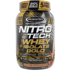 Мусклетек, Nitro Tech, Whey Plus Isolate Gold, Double Rich Chocolate, 2 lbs (907 g) отзывы