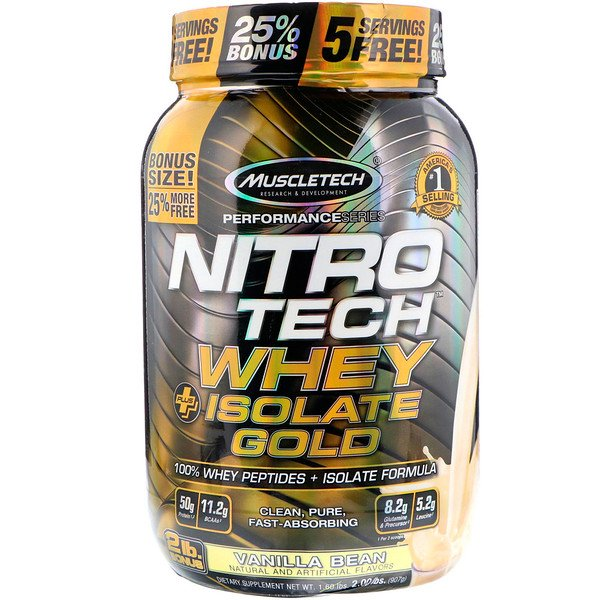 Muscletech, Nitro Tech, Whey Plus Isolate Gold, Vanilla Bean, 2 lbs (907 g)