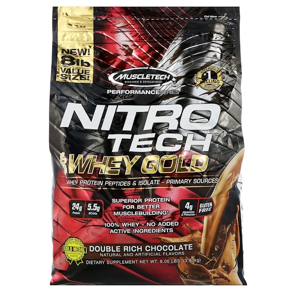 Muscletech, Nitro Tech, 100% Whey Gold, Whey Protein Powder, Double Rich Chocolate, 8 lbs (3.63 kg)