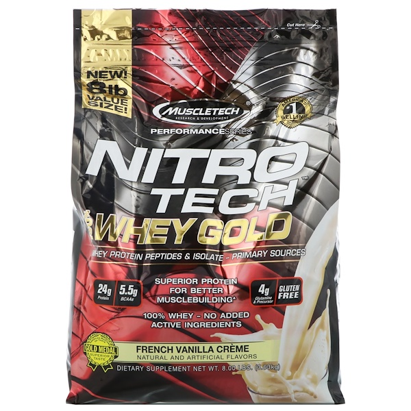 Muscletech, Performance Series, Nitro Tech, 100% Whey Gold French Vanilla Cr�me, 8lbs (3、63 kg)