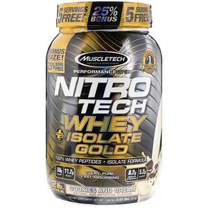 Мусклетек, Nitro Tech, Whey Plus Isolate Gold, Cookies and Cream, 2.01 lbs (913 g) отзывы