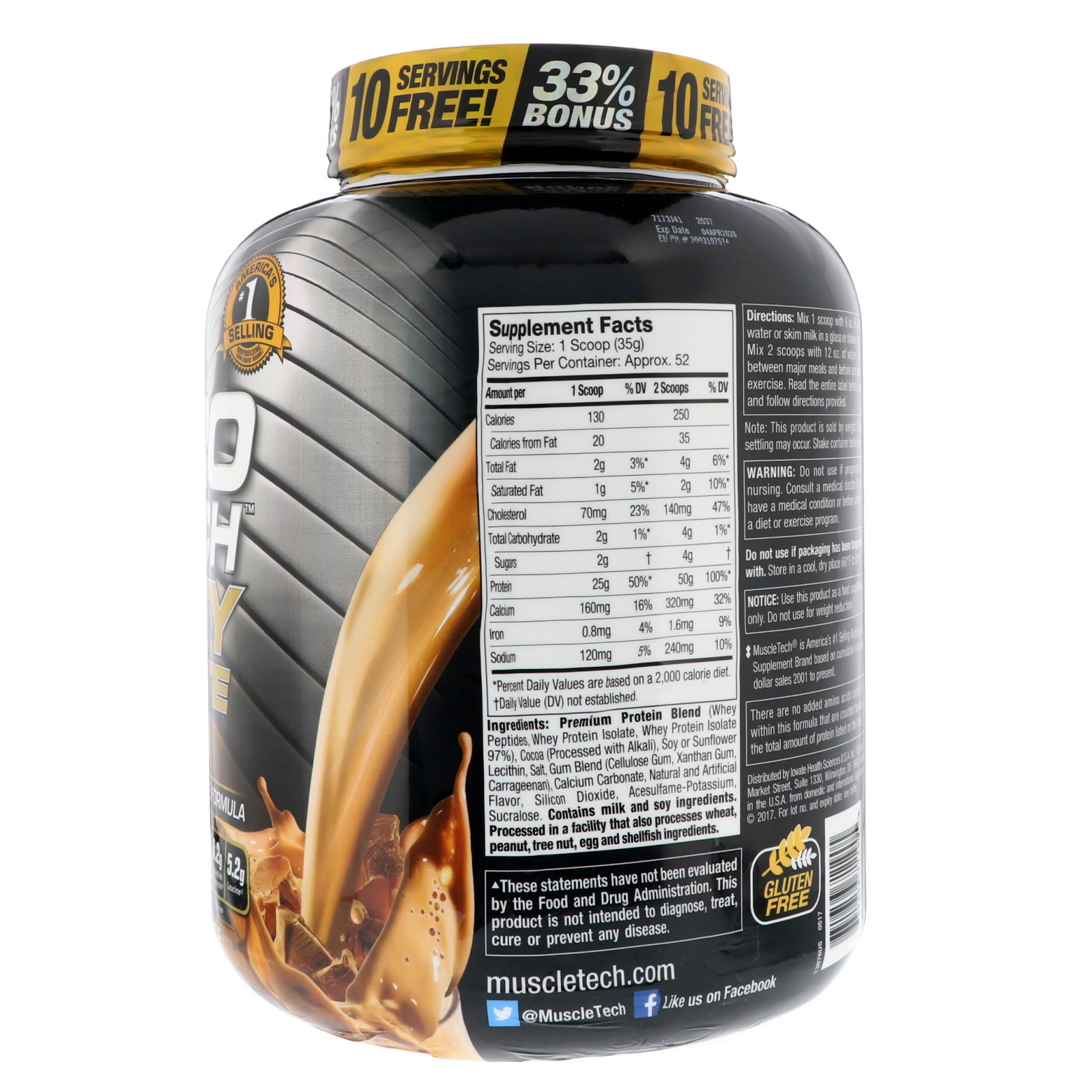 Muscletech Nitro Tech Whey Plus Isolate Gold Double Rich Nitrotech Ripped 4lbs 4 Lbs Protein Chocolate 181 Kg By