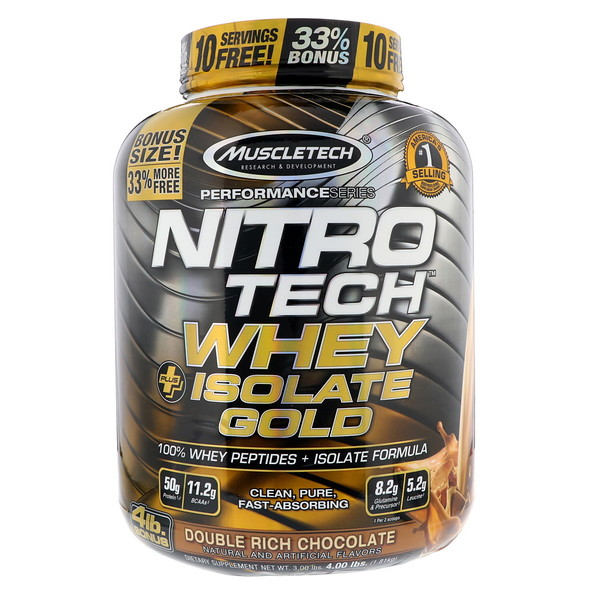 Muscletech, Nitro Tech, Whey Plus Isolate Gold, Double Rich Chocolate, 4 lbs (1.81 kg) (Discontinued Item)
