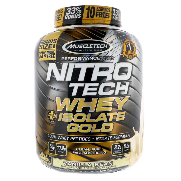 Muscletech, Nitro Tech, Whey Plus Isolate Gold, Vanilla Bean, 4 lbs (1.81 kg) (Discontinued Item)