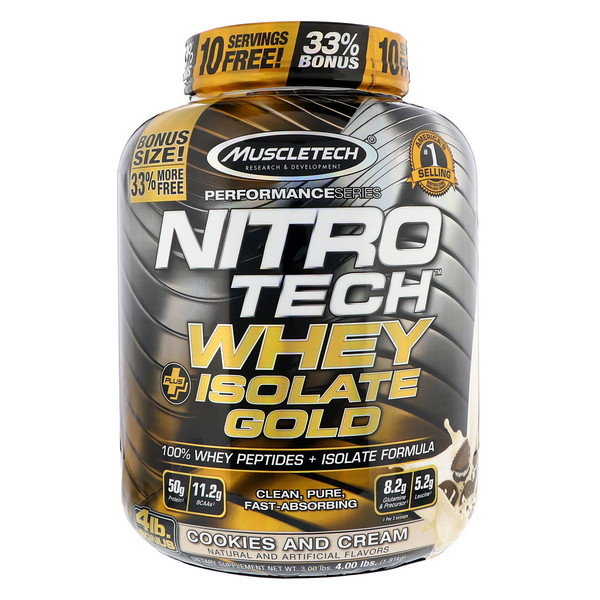 Muscletech, Nitro Tech, Whey Plus Isolate Gold, Cookies and Cream, 4 lbs (1.81 kg) (Discontinued Item)