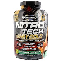 Muscletech, Nitro Tech, 100% Whey Gold, Mint Chocolate Chip Sundae , 5.50 lbs (2.49 kg)