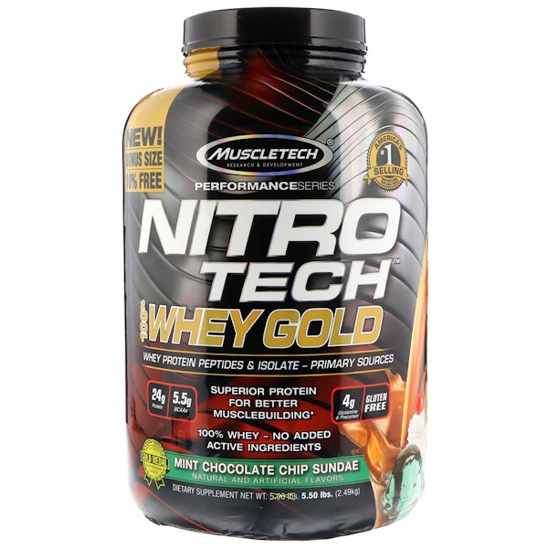 Muscletech, Nitro Tech, 100% Whey Gold, Mint Chocolate Chip Sundae, 5.50 lbs (2.49 kg) (Discontinued Item)