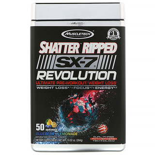 Muscletech, Shatter Ripped SX-7 Revolution Ultimate Pre-Workout/ Weight Loss, Blueberry Lemonade, 10.02 oz (284 g)