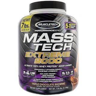 Muscletech, Mass Tech Extreme 2000, براونيز بالشوكولا الثلاثية , 7.00 باوند (3.18 كلغ)