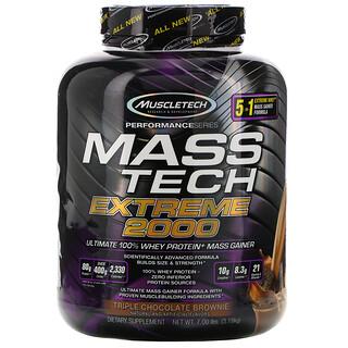 Muscletech, Mass Tech Extreme 2000,三重巧克力蛋糕,7.00 磅(3.18 千克)