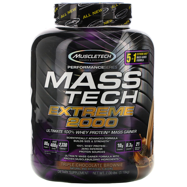 Muscletech, Mass Tech Extreme 2000, Triple Chocolate Brownie, 7.00 lb (3.18 kg)