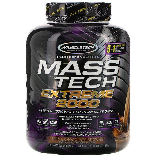 Mass Tech Extreme 2000, Brownie triple chocolat, 7,00 lb (3,18 kg)
