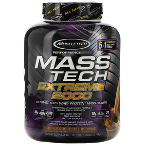 Мусклетек, Mass Tech Extreme 2000, Triple Chocolate Brownie, 7.00 lb (3.18 kg) отзывы