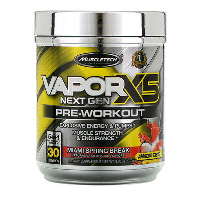 Купить Muscletech VaporX5, Next Gen, предтренировочный комплекс, со вкусом Miami Spring Break, 272г (9, 60унции)