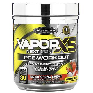 Muscletech, VaporX5, Next Gen, Pre-Workout, Miami Spring Break, 9.60 oz (272 g)